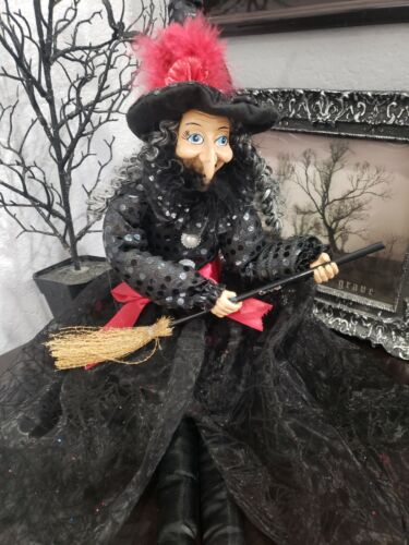"""HALLOWEEN RED DRESS WITCH DOLL SHELF SITTER TABLETOP MANTEL HOME DECOR 29.5"""""""