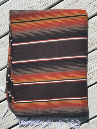 """Mexican Serape Sarape Fringed Blanket Bedspread 84"""" x 60"""" Brown Rust Fall Colors"""