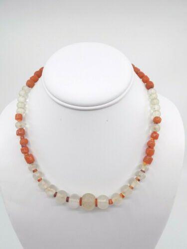 Pre-Columbian Quartz, Spondylus, and Carnelian Bead Necklace, Authentic