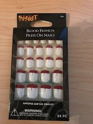 Spirit Halloween Blood Red & White French Press On Nails - NEW Halloween