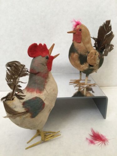 Antique Easter Crowing Rooster Chicken & Hen Candy Container Paper Mache Japan