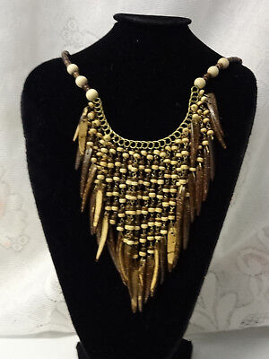African Haute Couture Runway Fashion Mixed Hard Wood Briolette Necklace Unique