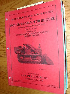 International Hough T-6 Parts Catalog Operation Manual Loader For Td-6 Crawler