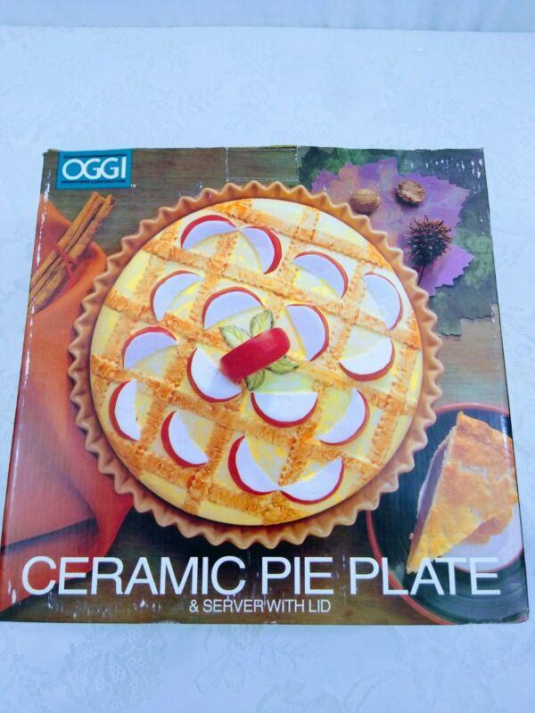 OGGI Corp. Ceramic Pie Plate & Server With Lid  NOB