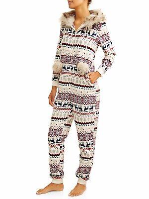 Fair Isle Onesie Pajamas Plus Size 2X-3X Women One Piece Union Suit Fur Hood NEW (Plus Size Onesie)