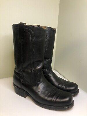 Size 9.5 Acme Vintage Men's Black Square Toe Cowboy Western Boots Heel Shoes