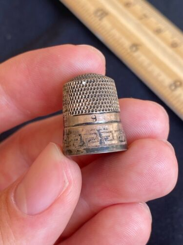 Antique Vintage Simons Brothers Bros Sterling Silver Sewing Thimble Greek Key 9