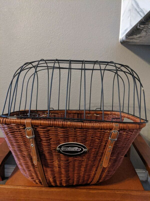 PET CRUISER WICKER BICYCLE BASKET DOG OR CAT CARRIER # WC100