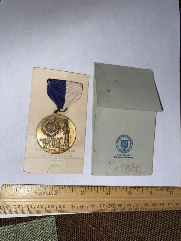 1925 MEDAL w ORIGINAL SLEEVE ENVELOPE CONNECTICUT GOVERNORS FOOT GUARD NEW HAVEN