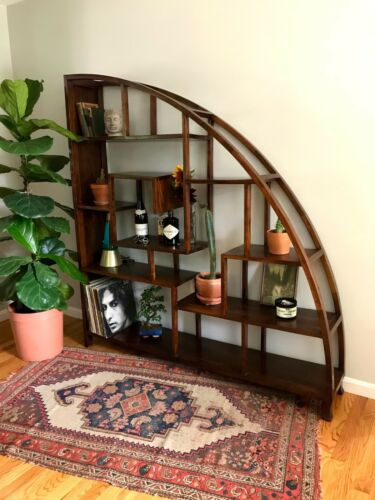 Antique Asian Hardwood Bookcase - Shelf - Room Divider - Hand Crafted - Mid-Cent