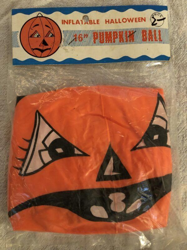 "Vintage 16"" BLOW-UP INFLATABLE Orange PUMPKIN HALLOWEEN Decor NOS"