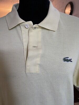 LACOSTE Men's Pique Mesh Cotton Croc Polo Shirt Yellow Size 5