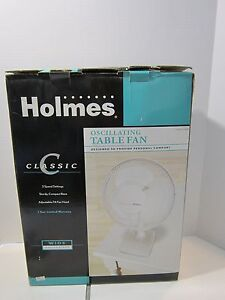 New In Box Holmes Oscillating Table Fan White Ebay
