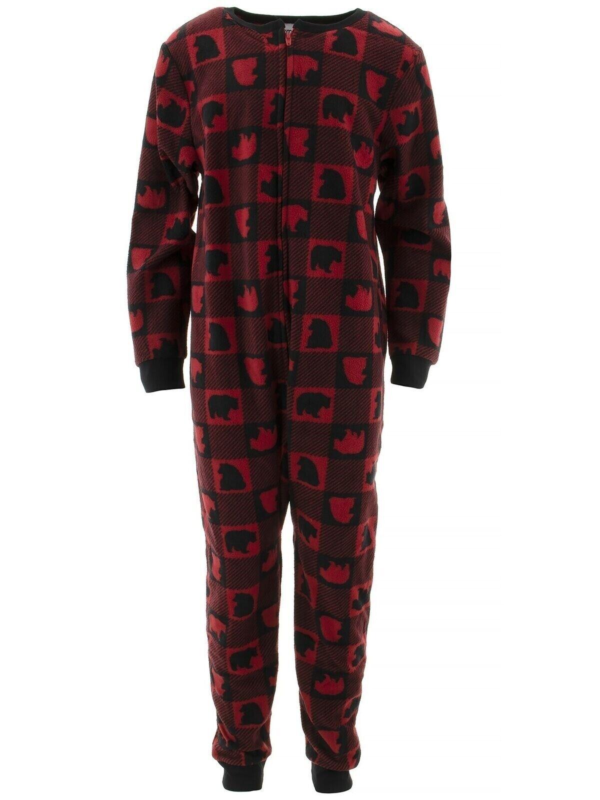 Komar Kids Boys Bear Red Plaid Fleece Blanket Sleeper One-Pi
