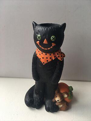 Vintage Hallmark Black Cat Pumpkin Mouse Candle Holder Halloween Retro look