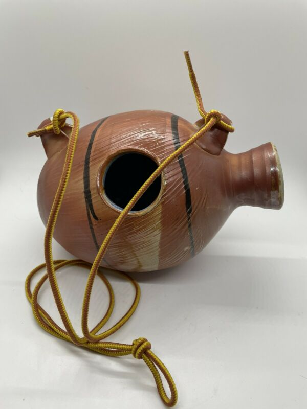 """Udu Clay Drum Latin Music Percussion Instrument 8.5"""" Light Brown Signed W/ Cord"""