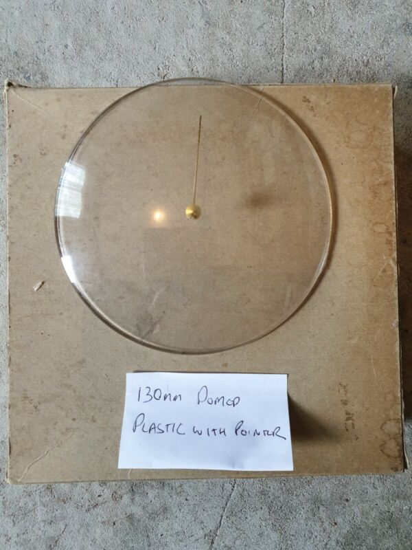 Barometer replacement glass (plastic) 130mm domed with brass pointer knob
