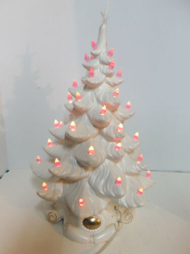 "Vintage 1972 Atlantic Mold 19"" White Ceramic Christmas Tree w Star & Bulbs WORKS"