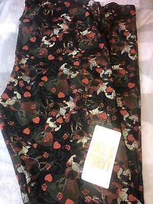 NWT Lularoe TC Halloween Leggings Disney Queen Hearts Villains Red Hearts Roses