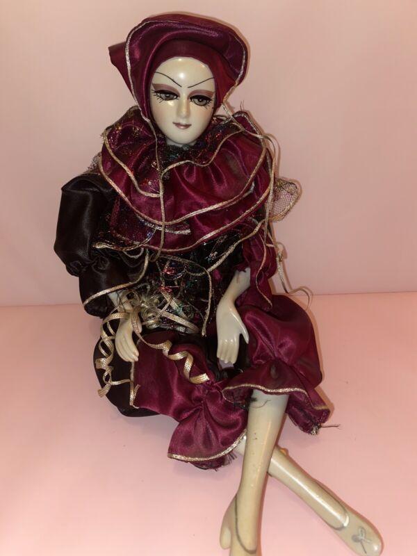 VTG Jester Clown Harlequin Ceramic Woman Figure Rare!! made In Thailand