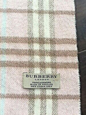 BURBERRY London Pink Plaid Checkered Nova Check 100% Cashmere Fringed Scarf -