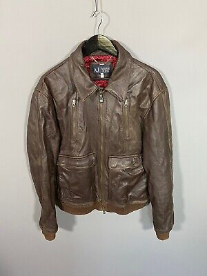 """ARMANI Leather Bomber Jacket - Medium 42"""" - Brown - Great Condition - Mens"""