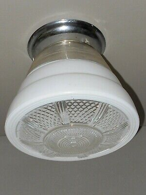 Kitchen Glass Shade Chrome Fixture Frosted & Clear Retro Art Deco Atomic MCM VTG