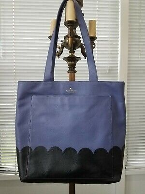Kate Spade Lita Street Scallop Andrea Tote Bag Oyster Blue (Purple) & Black
