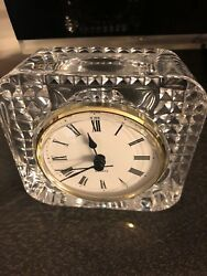 "Clock Quartz Staigert Mantel Shelf French Crystal Glass Square 4"" Germany"