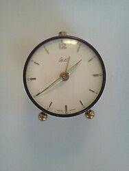Vintage Small Round Lecor Made In Germany Metal Desk Top Alarm Clock Mint/Works