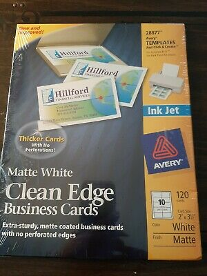 Avery Inkjet Clean Edge Business Cards 28877 - 2 X 3.5 White 120 Cards Matte