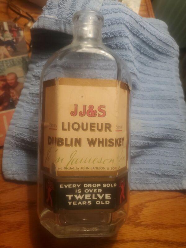 vintage j j & s john jameson liqueur dublin whiskey  bottle  corker