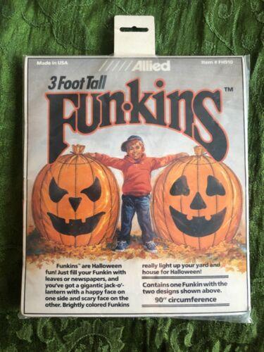 1990 Allied Funkins 3 Foot Tall Halloween Yard Leaf Bags New Old Stock Pumpkin