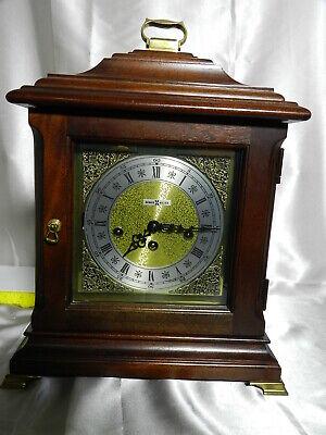 Vintage Howard Miller Mantle Clock Key Wind Hermle 340-020A Mov't 1981 Mahogany