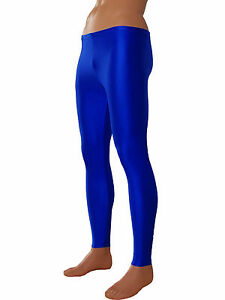 herren leggings royalblau leggin lang sporthose glanz elastisch gr en s bis xxl ebay. Black Bedroom Furniture Sets. Home Design Ideas