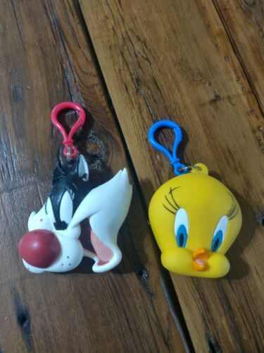 Vintage 1998 Sylvester and Tweety Bird Six Flags Coin Purse Pouch Keychains