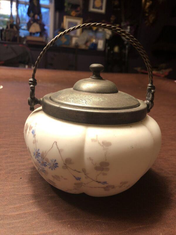 Antique Victorian Mt. Washingtonart Glass Biscuit Jar With Handle Painted