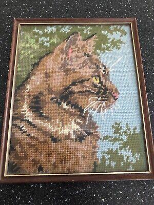 VINTAGE FRAMED EMBROIDERY SAMPLER, Big Cat Wld Cat , NEEDLEWORK, Retro Kitsch