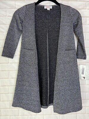 LuLaRoe Sariah Cardigan Sz 4 Black & Silver Metallic Knit Sweater NWT
