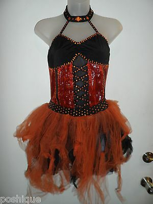 Witch Dance Costume (Elite Designs Costuming Dance Costume Orange Black Witch Rhinestone Ballroom)