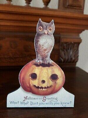 "Bethany Lowe Designs Halloween Greeting 5"" Dummy Board Owl on a Pumpkin"
