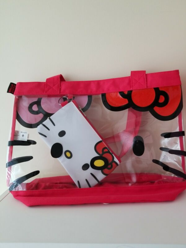 HELLO KITTY Vinyl Clear Tote with White HELLO KITTY Inner Zip Bag