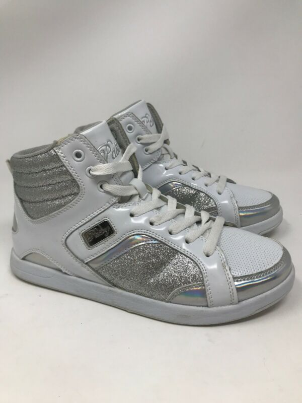 PASTRY Womens Sweet Court Dance Cheer High Top Shoes Size 7 White Silver Glitter
