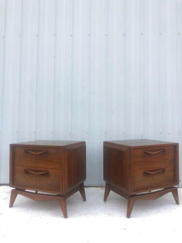 Pair of Mid Century Modern Walnut Two Drawer Nightstands