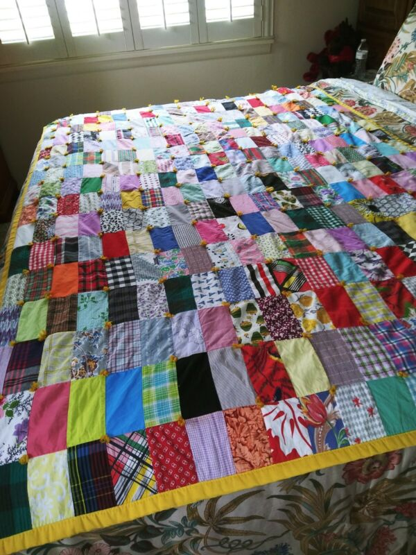 """VTG BRIGHT Patchwork Light Quilt  Tied & Handmade Rectangle Patch  54"""" x 84"""""""
