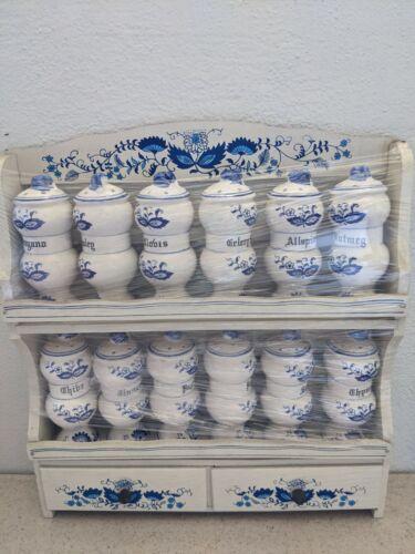 Vintage Blue Onion China Spice Jars with Wood Spice Rack