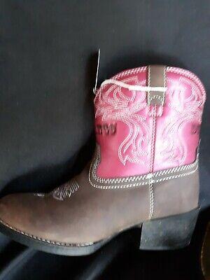 Durango Girls Pink Brown Cowboy Boots Size 2M