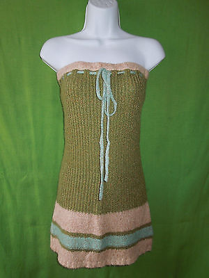 (Unionbay  junior youth green strapless size L cable knit dress tunic sweater )