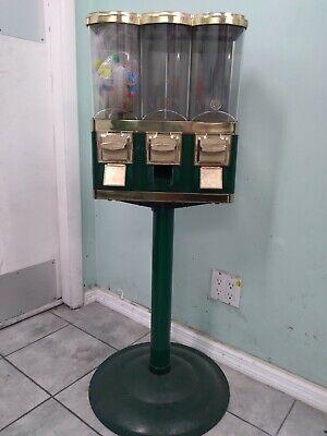 Green Triple Pod Candy Gumball Vending Machine 3 Head Dispenser Wkey