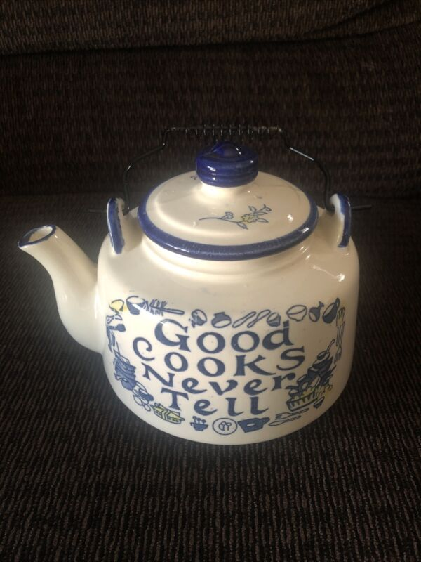 Good Cooks Never Tell Ceramic Teapot Made in Japan Vintage Kitchenware